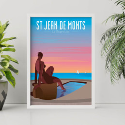 illustration vente affiche poster st jean de monts vendee noirmoutier illustration