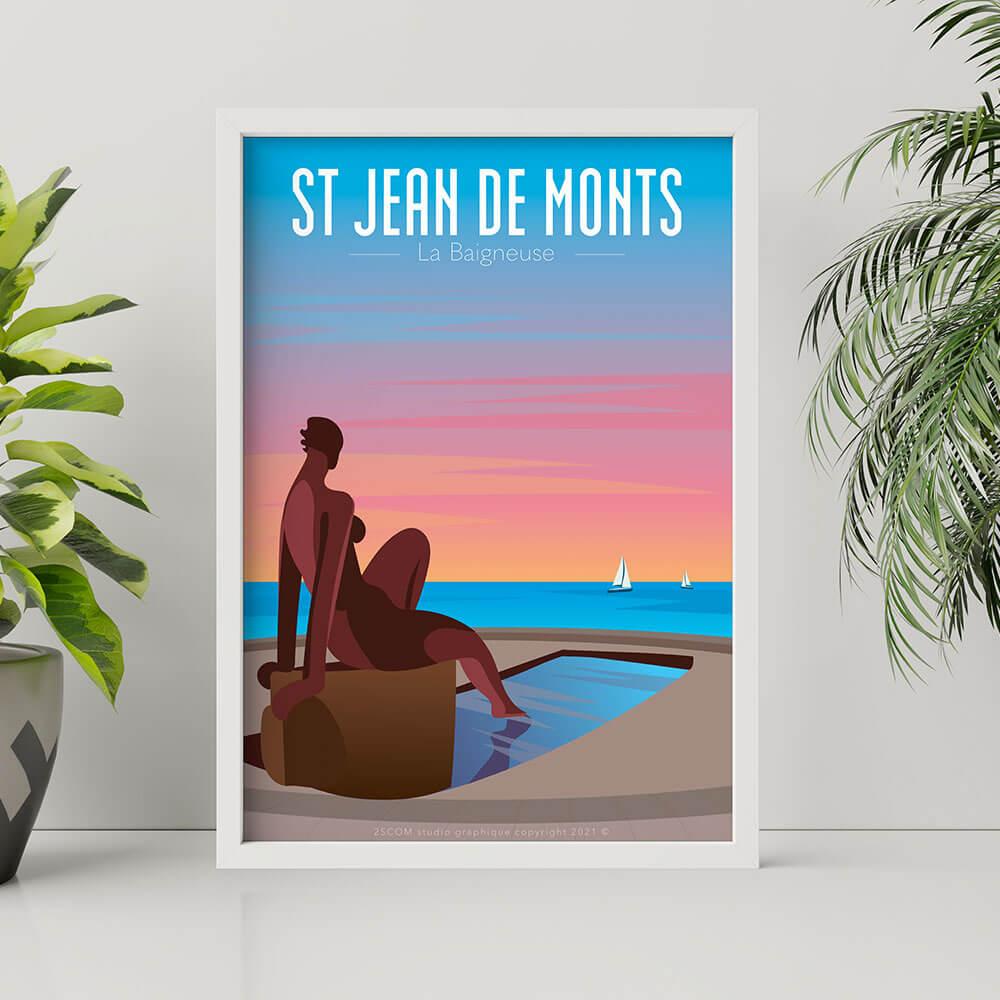 illustration vente affiche poster st jean de monts vendee noirmoutier illustration