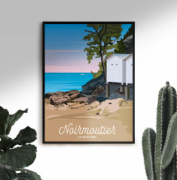Affiche Illustration Ile de Noirmoutier Vendée souvenirs saint jean de monts