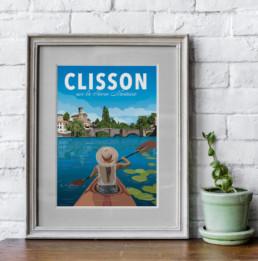 illustration clisson canoe kayak sevre nantaise souvenir loire atlantique affiche poster en vente a clisson